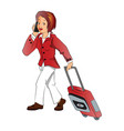 businesswoman talking on phone while pulling vector image