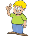 Cartoon boy pointing vector image