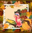 cartoon thanksgiving turkey character in hat vector image
