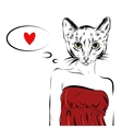 cat girl dressed up in party dress animal vector image
