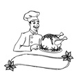 chef holding a plate of roast turkey vector image vector image