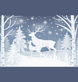 deer walking in winter forest vector image vector image