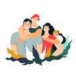 family portrait mother father son and daughter vector image