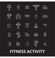 fitness activity editable line icons set on vector image vector image