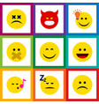 flat icon emoji set of smile asleep hush and vector image vector image