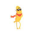 funny banana in glasses and scarf cartoon fruit vector image vector image