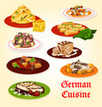 german cuisine icon of bavarian dinner with cake vector image vector image