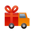 gift delivery car icon vector image vector image