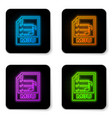 glowing neon m3u file document icon download m3u vector image vector image
