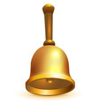 golden school retro bell isolated on white vector image vector image