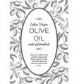 green olives oval wreath postcard doodle vector image vector image