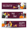 halloween banners sticker with halloween symbol vector image vector image
