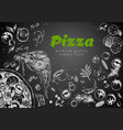 hand drawn pizza line banner engraved style chalk vector image vector image