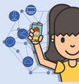 happy girl with smartphone in hand boy talk social vector image vector image