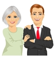 happy mother embracing her son vector image vector image