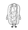 hot dog cartoon coloring book vector image vector image