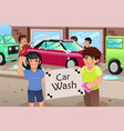kids holding a car wash poster vector image vector image