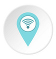Light blue map pointer with wi fi symbol icon