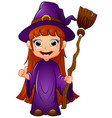 little witch cartoon holding broom vector image vector image