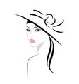 logo woman in hat with long hair vector image