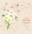 lovely bouquet of fresh daisies with flying vector image