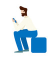 man use smartphone flat concept isolated on white vector image vector image