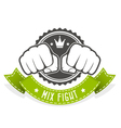 Mix Fight club emblem with two fists and banner vector image vector image