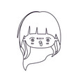 monochrome silhouette of facial expression furious vector image vector image