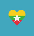 myanmar flag icon in a heart shape in flat design vector image vector image