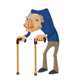 old man with two walking sticks vector image vector image
