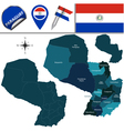 Paraguay map with named divisions vector image vector image