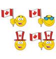 patriotic yellow cartoon emoji face collection - 5 vector image vector image