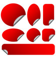 peeling red stickers set with metallic back side vector image