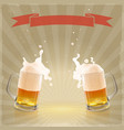 pint beer with splashing foam vector image vector image