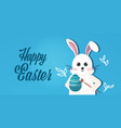 rabbit drawing on eggs happy easter bunny spring vector image