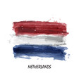 realistic watercolor painting flag netherlands vector image