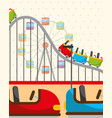 roller coaster ferris wheel and bumper cars vector image
