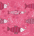 seamless pattern fish pink underwater doodle vector image vector image