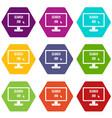 search job icon set color hexahedron vector image vector image