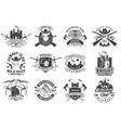 set knight historical and cowboy club design vector image