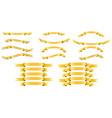 set of golden silk ribbons on white background vector image