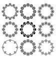 set round frames with graphic floral ornament vector image vector image