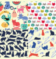 set seamless patterns with funny cartoon cats vector image vector image