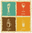 set vintage cups labels vector image vector image