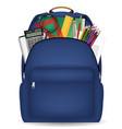 student school bag with study tool in side vector image