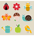 summer garden stickers set vector image vector image
