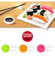 Sushi And Bamboo Mat vector image