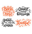 thanksgiving hand drawn lettering set vector image