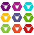 underpants classic icons set 9 vector image vector image