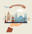 welcome to turkey attractions usa on a tray vector image vector image
